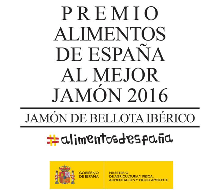 Premio Alimentos de España 2016 al Mejor Jamón de Bellota Ibérico